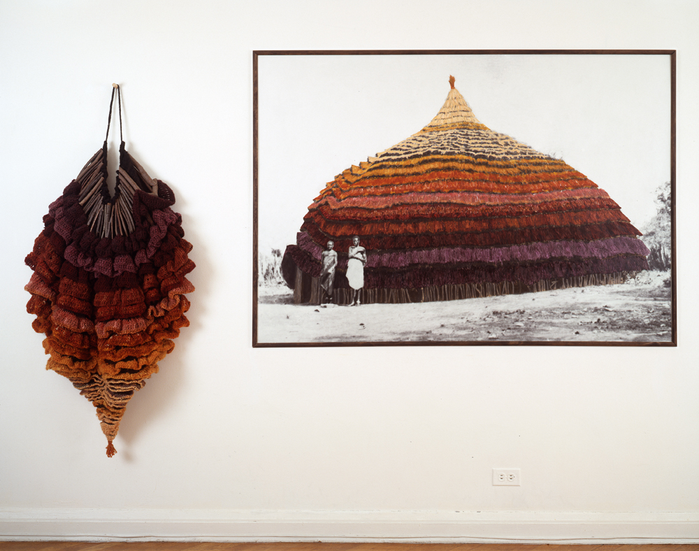 East Africa. 1985. Knitted wool yarn and twigs, and oil on gelatin silver print. Overall 66 in. x 8 ft. 10 in. (167.6 x 269.2 cm)